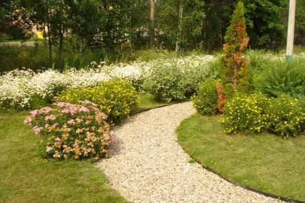 гравий при украшении садовых дорожек
