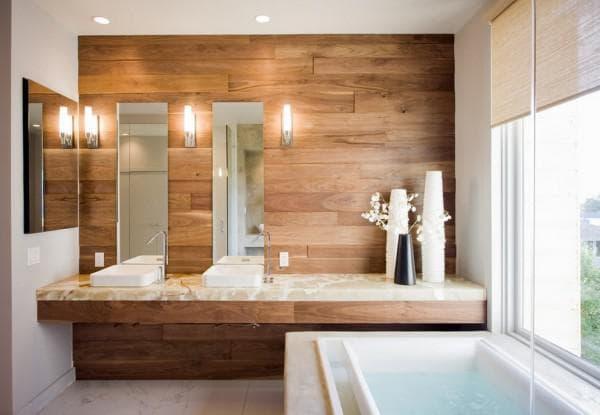 деревянные стеновые панели для ванной