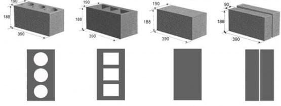 керамзитобетонного блока-габариты