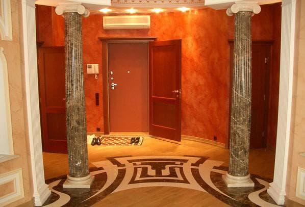 облицовка колонн и декоративных элементов из искусственного мрамора