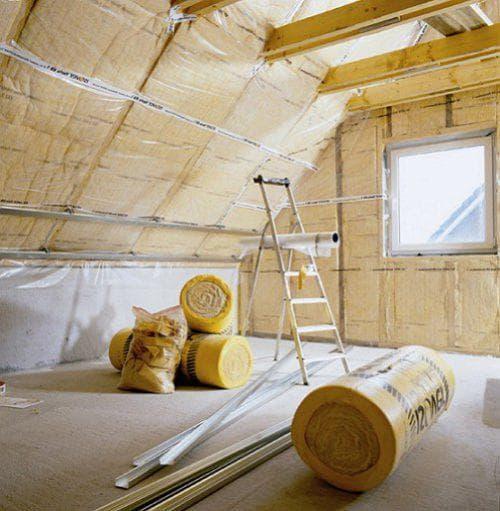 утеплитель потолка с помощью утеплителя Изовер