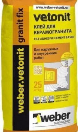 плиточный клей для наружных работ Вебер Ветонит Гранит Фикс