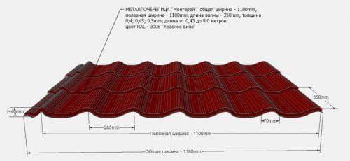 вес листа металлочерепицы для крыши